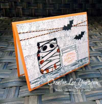 Jar of Haunts Shaker by Sheila Tatum, Stampin Up, #creativeleeyours, diemonds tam swap, everyday jars framelits, timeless textures stamp set, hand stamped halloween card