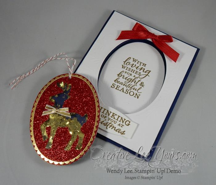 2 in 1 ornament by Wendy Lee, Stampin Up, #creativeleeyours, embellished ornaments stamp set, santas sleigh thinlits, project life thinlits, hand made christmas card, ornament, November 2016 FMN class