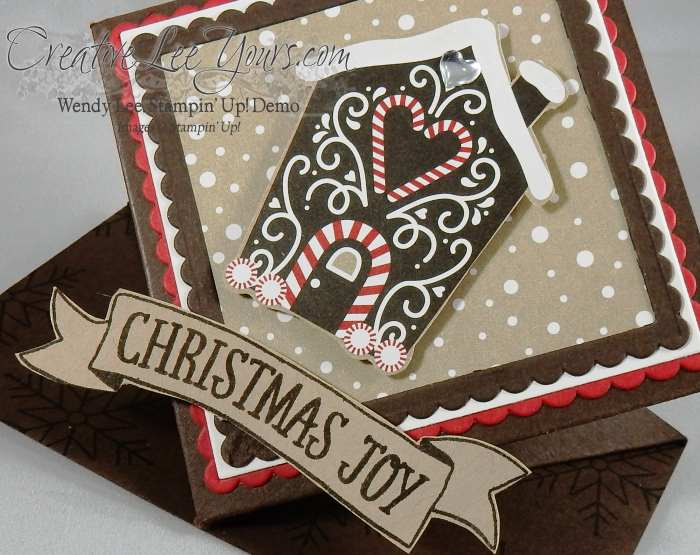 Gingerbread Wobble by Wendy Lee, stitched with cheer stamp set, Stampin Up, #creativeleeyours, November 2016 FMN class, fun fold, hand made christmas card