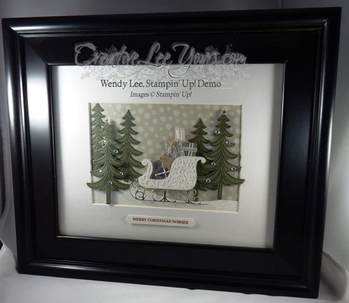 santas sleigh by wendy lee, stampin up, home decor, class, #creativeleeyours, santas sleigh stamp set, santas sleigh framelits