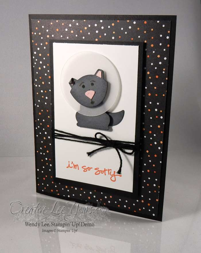 Get Well Sooner Cone of Shame by Wendy Lee, Stampin Up, #creativeleyours, Fox Builder Punch, Greatest Greetings stamp set