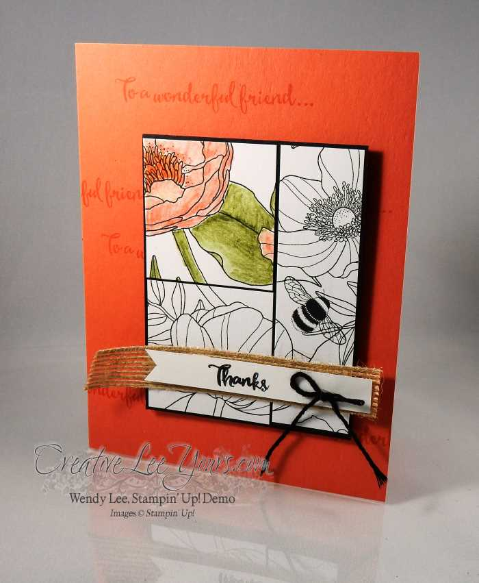Inside the lines thanks by Wendy Lee, Stampin up, #creativeleeyours, hand made thank you card, #onstage2016, watercolor pencils