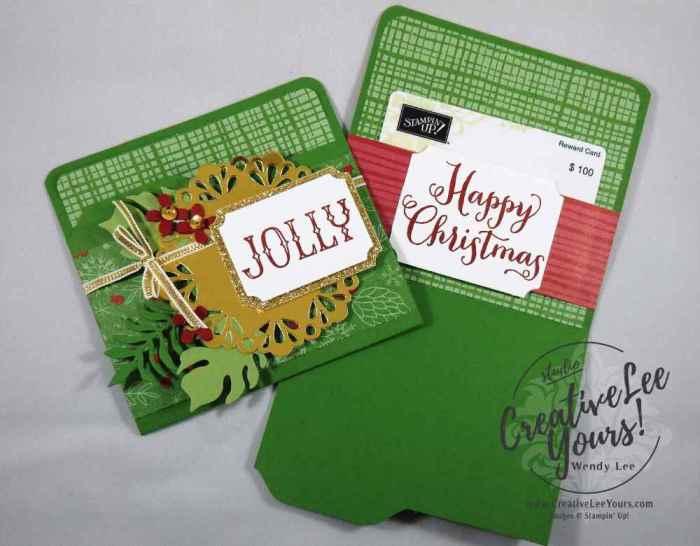 Mini File Folder Gift Card Holder by Wendy Lee, Stampin Up, #creativeleeyours, December 2016 FMN class, On, What Fun stamp set, Envelope punch board, christmas, hand made gift card holder, Botanical builder framelits