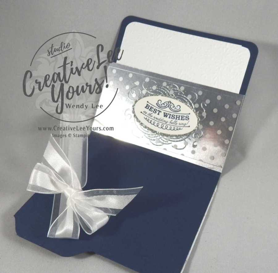 Wedding Bells Gift card holder by Wendy Lee, Stampin Up, mini file folder, seasonal bells stamp set, hand made, #creativeleeyours