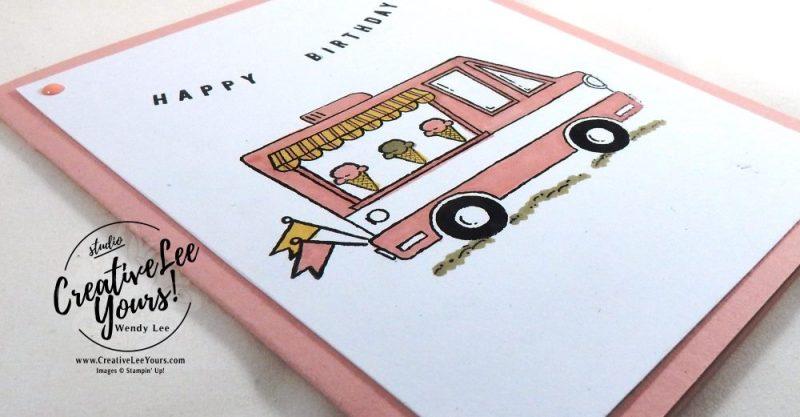 Tasty Trucks Birthday by Pam Lawson, Stampin Up, #creativeleeyours, creatively yours, tasty trucks stamp set, diemonds team swap, #SAB2017