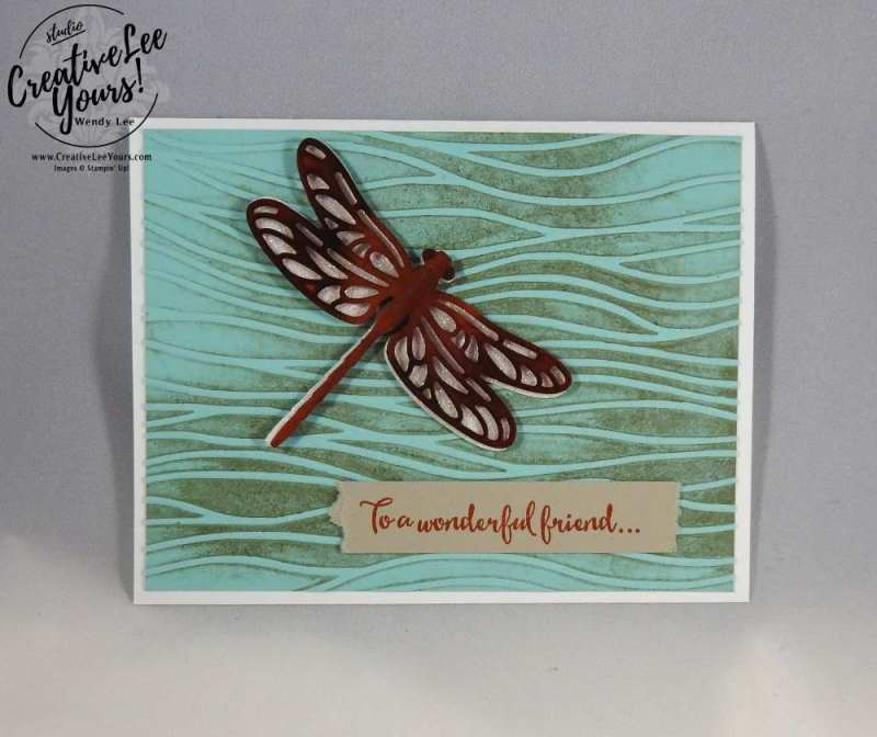 Flying Dragonfly by Carol Curran, Stampin Up, #creativeleeyours, creatively yours, diemonds team swap, dragonfly dreams stamp set, detailed dragonfly thinlits, Wendy Lee