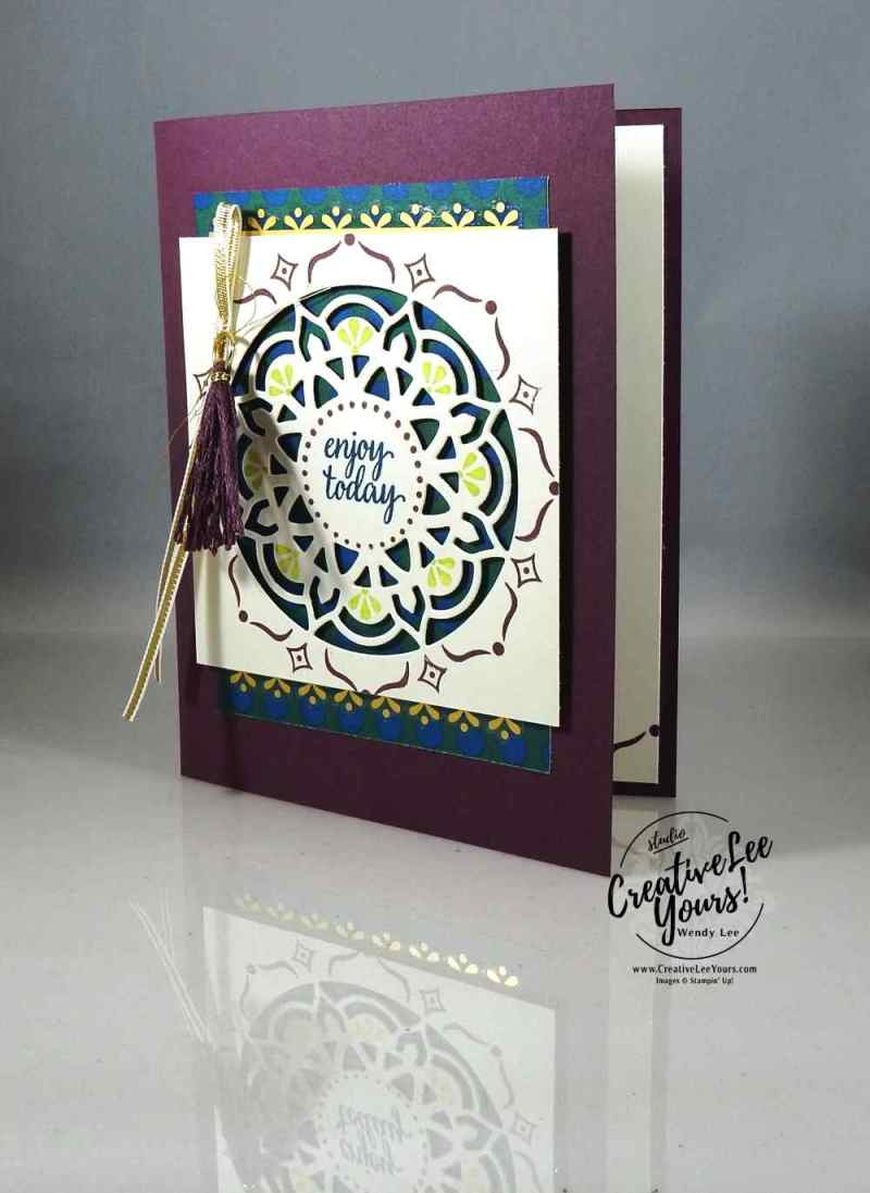 Enjoy Today Medallion with Wendy Lee, Eastern Beauty stamp set, eastern medallion Thinlits, eastern palace bundle, stampin up, #creativeleeyours, creatively yours, handmade card