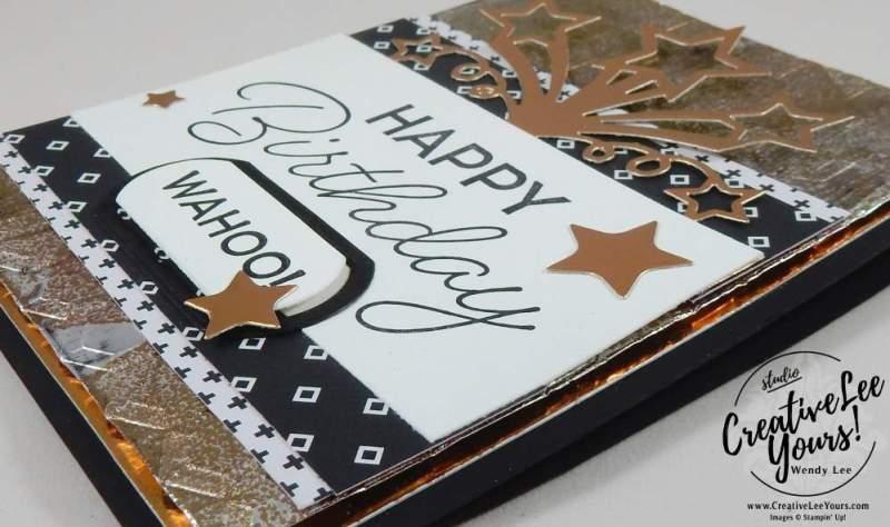 Tarnished Foil Birthday by Wendy Lee, Stampin Up, May 2017 FMN class, masculine birthday card, birthday blast stamp set,star blast edgelits, haxagon dynamic embossing folder