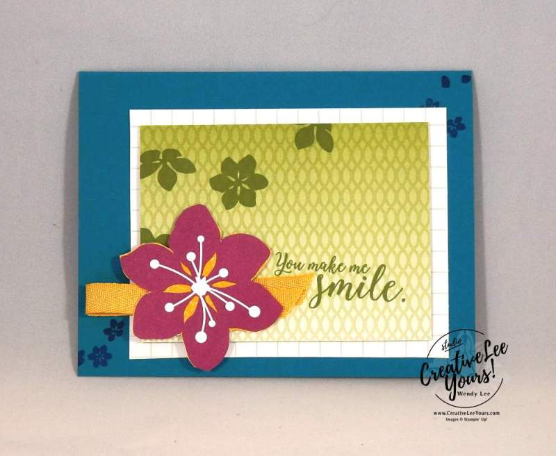 You Make Me Smile by Wendy Lee, Stampin Up, #creativeleeyours, creatively yours, rubber stamps, handmade card, colorful seasons stamp set, color theory memories & more card pack, Onstage April 2017