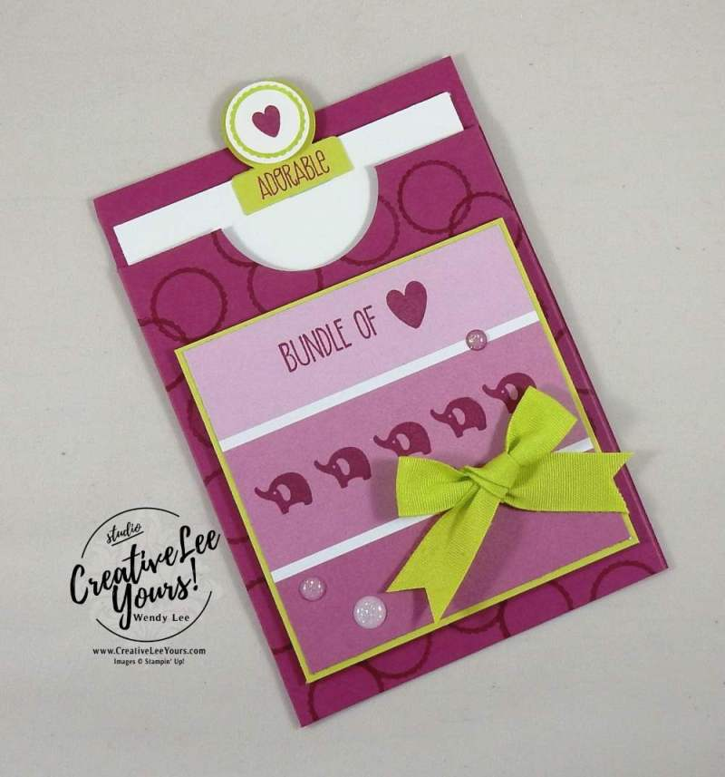 Adorable Bundle Of Love Gift Card Holder by Wendy Lee, Stampin Up, stamping, gift card holder, baby card, rubber stamps, #creativeleeyours,creativelyyours, tabs for everything stamp set, sunshine sayings stamp set, baby bear stamp set, kylie bertucci international highlights, hand madecard