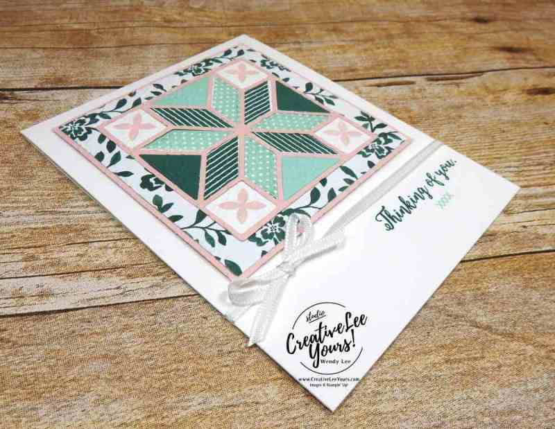 Thinking of You Quilt by wendy lee, stampin up, christmas quilt stamp set, colorful seasons stamp set, quilt builder thinlits, quilt top embossing folder, stamping,handmade card, paper quilt, rubber stamps