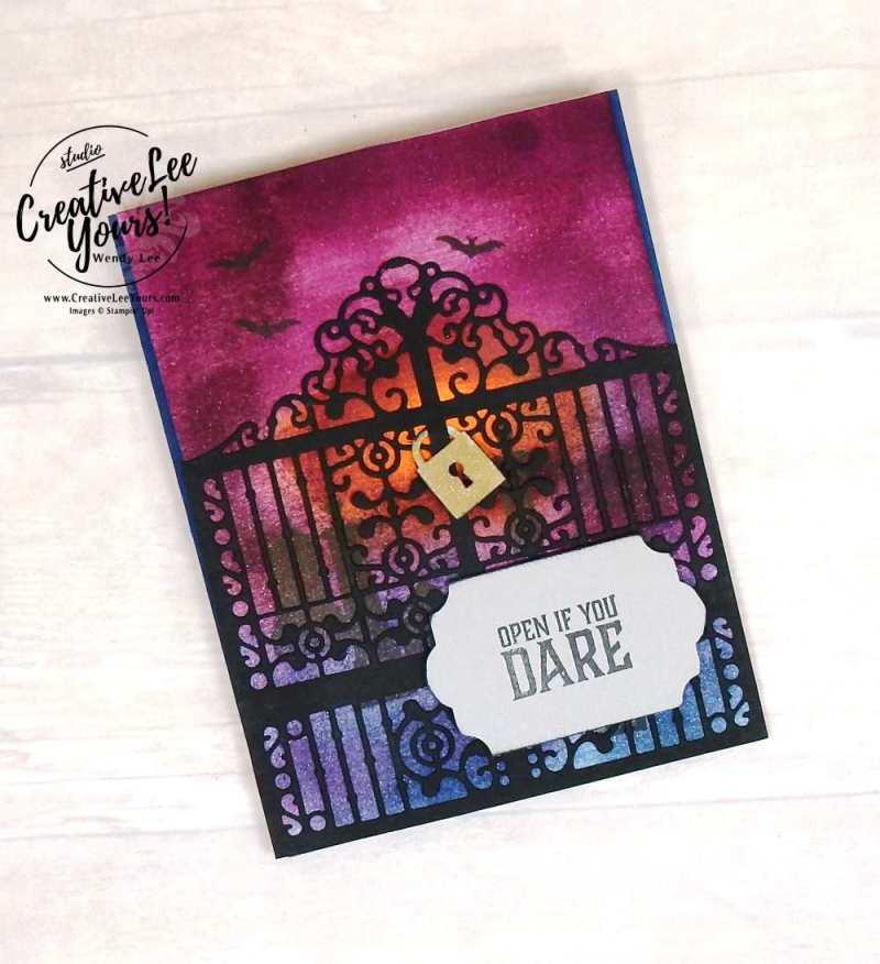 Spooky Gate by Jennifer Moretz, stampin Up, wendy lee, #creativeleeyours, diemonds team swap, halloween card, hand made, stamping, rubber stamps, graveyard gate stamp set, detailed gate thinlits