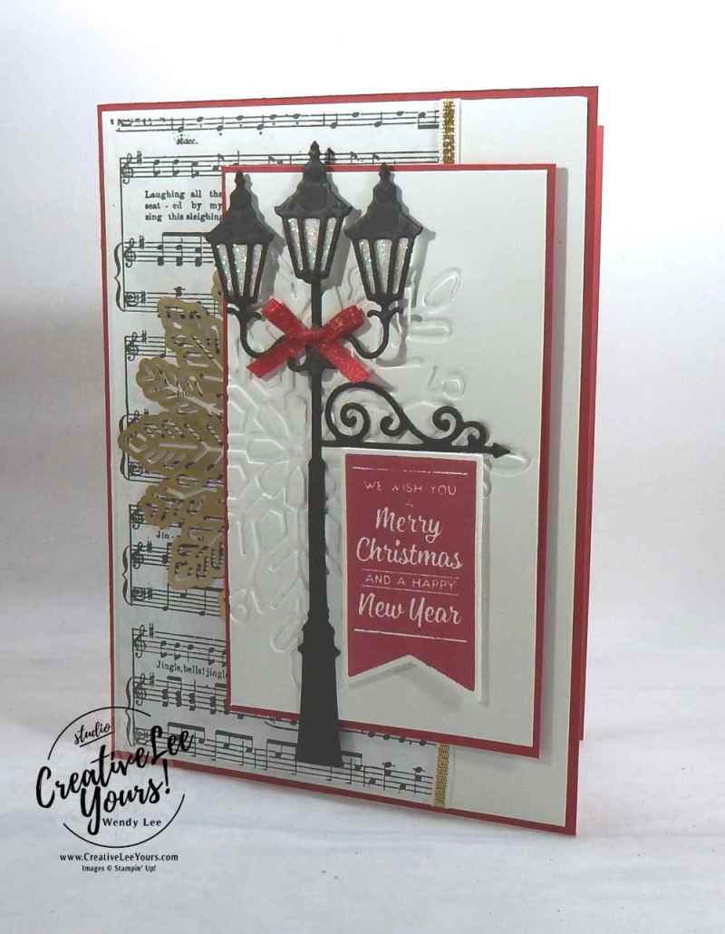 Brightly Lit Christmas by wendy lee, stampin up, #creativeleeyours, creatively yours, stamping, hand made, holiday cards, christmas cards,Santa's sleigh stamp set, Brightly Lit Christmas stamp set, christmas lampost thinlits,FMN card class,rubber stamps