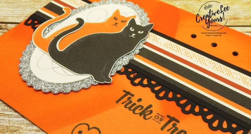 Trick or Treat by Belinda Rodgers,stampin up,Wendy Lee,#creativeleeyours,creatively yours, diemonds team swap, spooky cat, cat punch, halloween card, stamping, handmade
