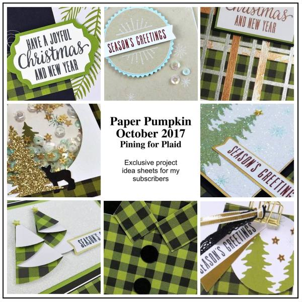 October 2017 Pinning for Plaid Paper Pumpkin Kit by wendy lee, stampin up, handmade cards, rubber stamps, stamping, kit, subscription, holiday cards