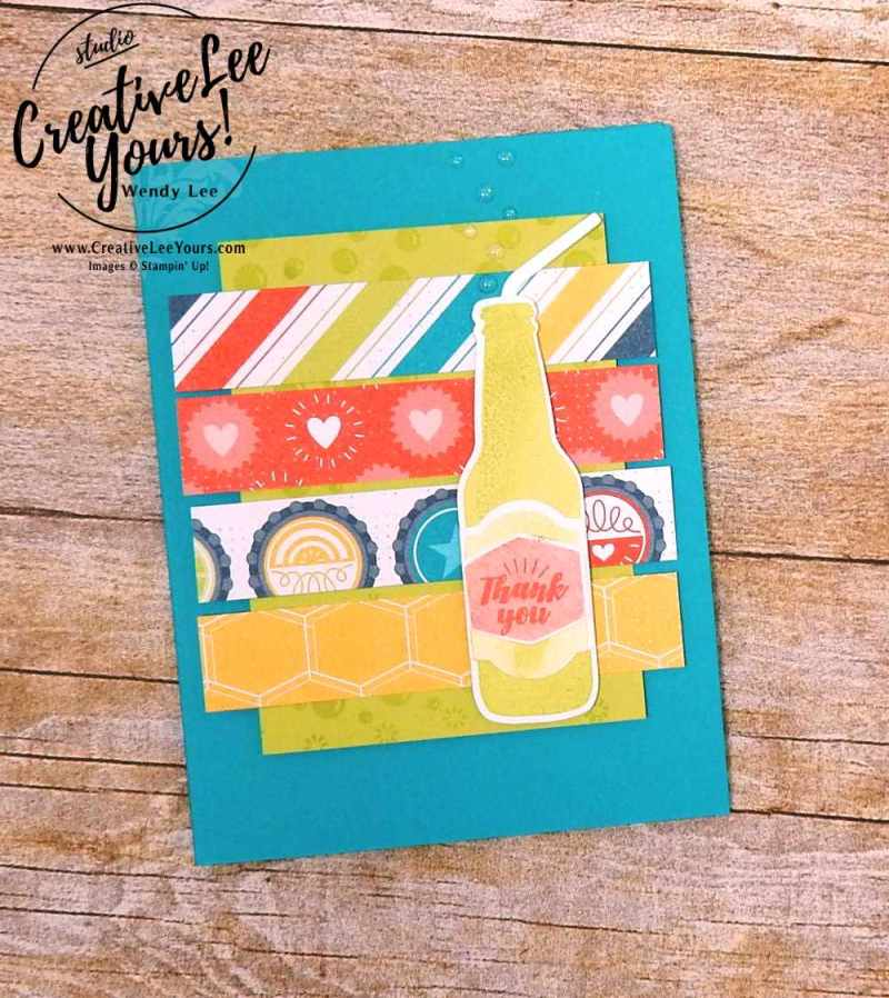 Bubble Over with Wendy Lee,stampin up, stamping,#creativeleeyours, creatively yours, rubber stamps, bubble over stamp set,bottles and bubbles framelits,fun card,thank you card,handmade,masculine,november 2017 on stage