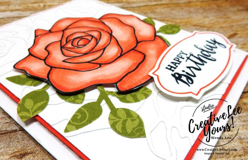Birthday Flower by Wendy Lee,stampin up, #creativeleeyours, stamping, handmade,stampin blends, rose wonder, watercolor,kylie bertucci international highlights