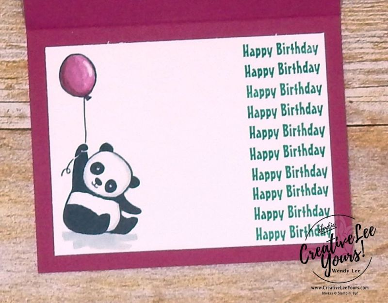 celebrations card class by Wendy lee,stampin up,stamping, handmade,occasions, fast and easy,technique,beginner class,#creativeleeyours,creatively yours,SAB,sale-a-bration,party pandas stamp set, spinner card,birthday