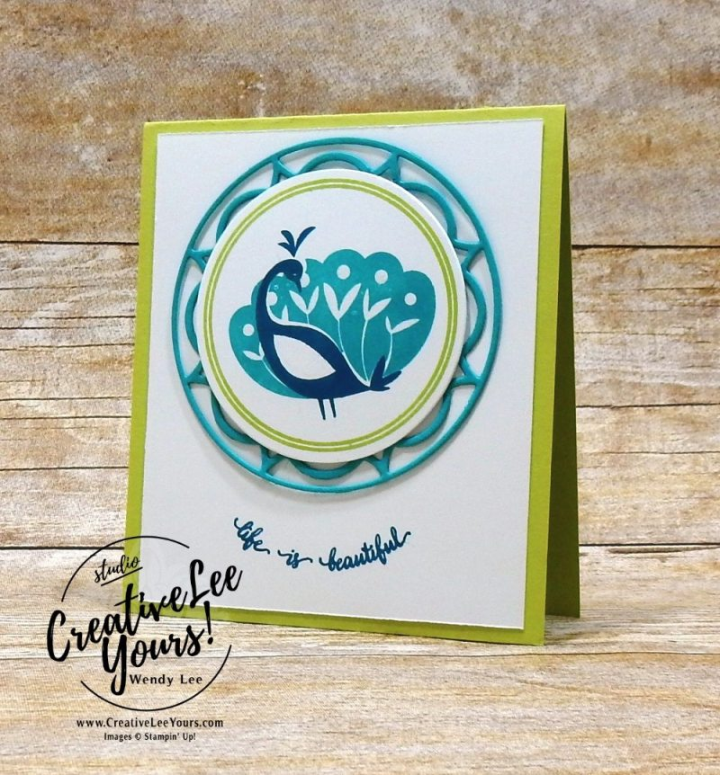 Beautiful Peacock by Aimee Smith,wendy lee, stampin up, stamping, beautiful peacock stamp set, SAB,Sale-a-bration,handmade,layering circles, SU,#creativeleeyours, creatively yours,creative-lee yours, SU cards,eastern medallions,diemonds team swap