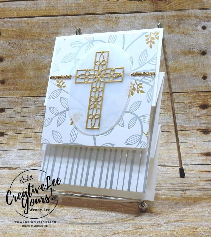 Go For Greece blog hop, kylie bertucci, cardmaking, handmade card, rubber stamps, stampin, stampin up, wendy Lee, #creativeleeyours, creatively yours, creative-lee yours, SU, SU cards, incentive trip, vertical stretch fun fold, hold on to hope stamp set, crosses of hope framelits, springtime foils, SAB, FREE product, Sale-a-bration