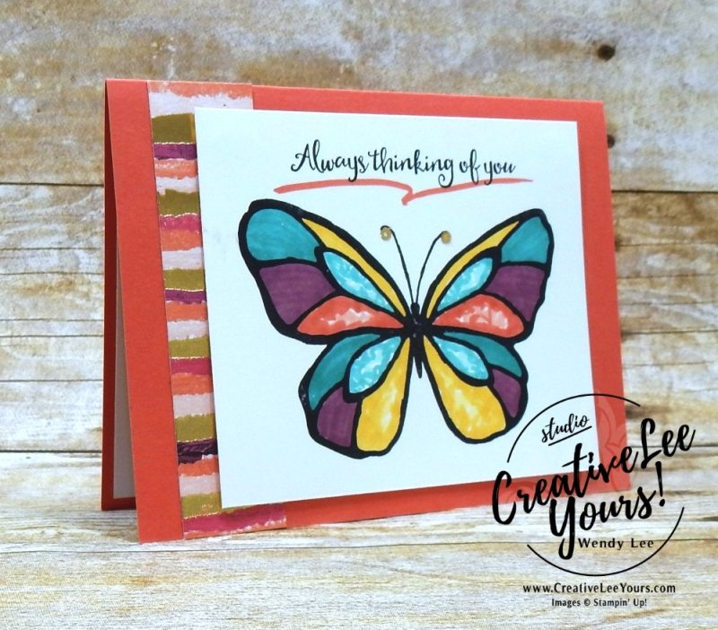 Always Thinking of You by Belinda Rodgers, Wendy Lee, creatively yours, creative-lee yours, Stampin Up, stamping, handmade, SU, #creativeleeyours, beautiful day stamp set, diemonds team swap, butterfly, coloring with blends
