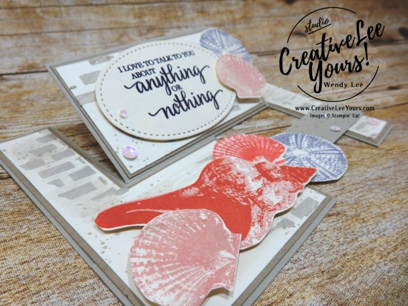 impossible Shells by Wendy Lee, Stampin Up, stamping, impossible fun fold, beach, handmade card, friend, sympathy, birthday, #creativeleeyours, creatively yours, creative-lee yours, May 2018 FMN card class, forget me not, So many shells stamp set, waterfront stamp set, SU, SU cards, rubber stamps,