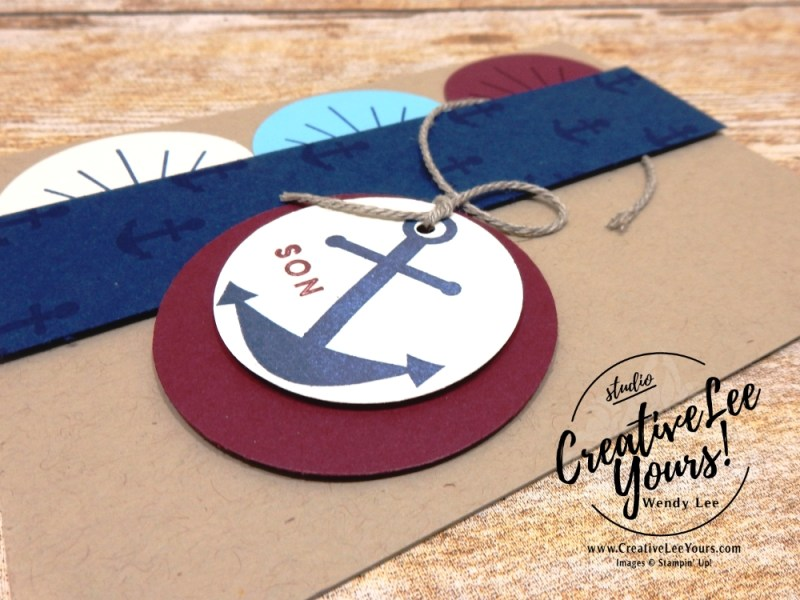 April 2018 You Are My Anchor Paper Pumpkin Kit by wendy lee, stampin up, handmade cards, rubber stamps, stamping, kit, subscription, nautical cards, thank you, congrats, friend, #creativeleeyours, creatively yours, creative-lee yours, SU, SU cards, masculine, June 2018 FMN class, BONUS card