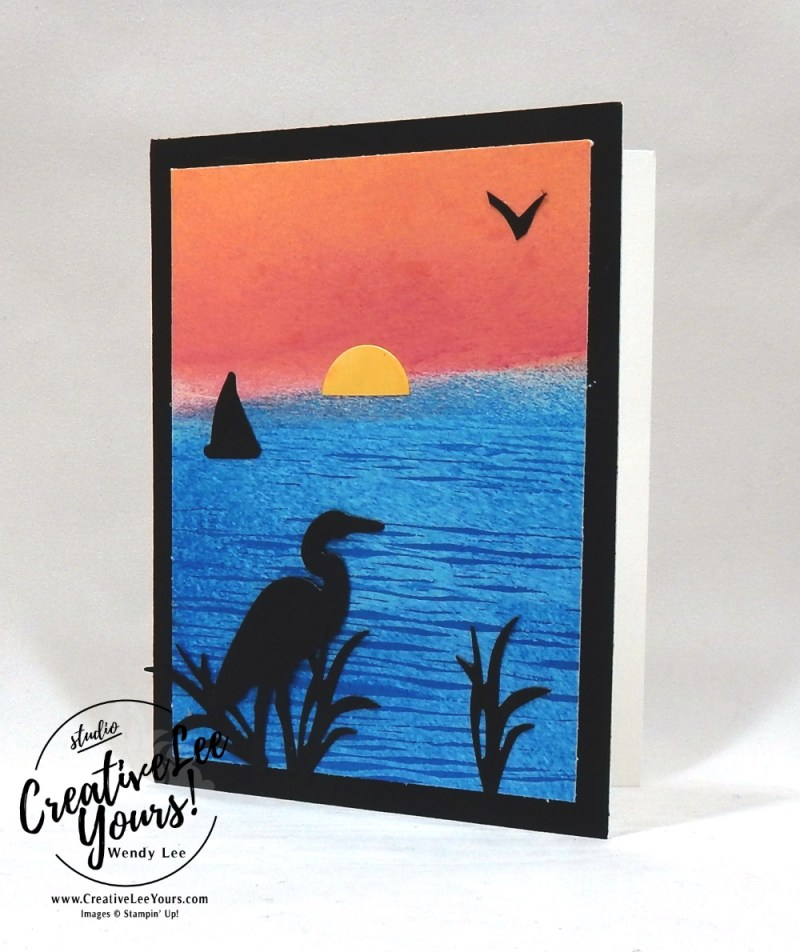 Sunset Silhouettes by susan walden, wendy lee, Thank you, congratulations, sympathy, cardmaking, handmade card, rubber stamps, stamping, stampin up, #creativeleeyours, creatively yours, creative-lee yours, SU, SU cards, lilypad lake stamp set, lakeside framelits, ghost technique