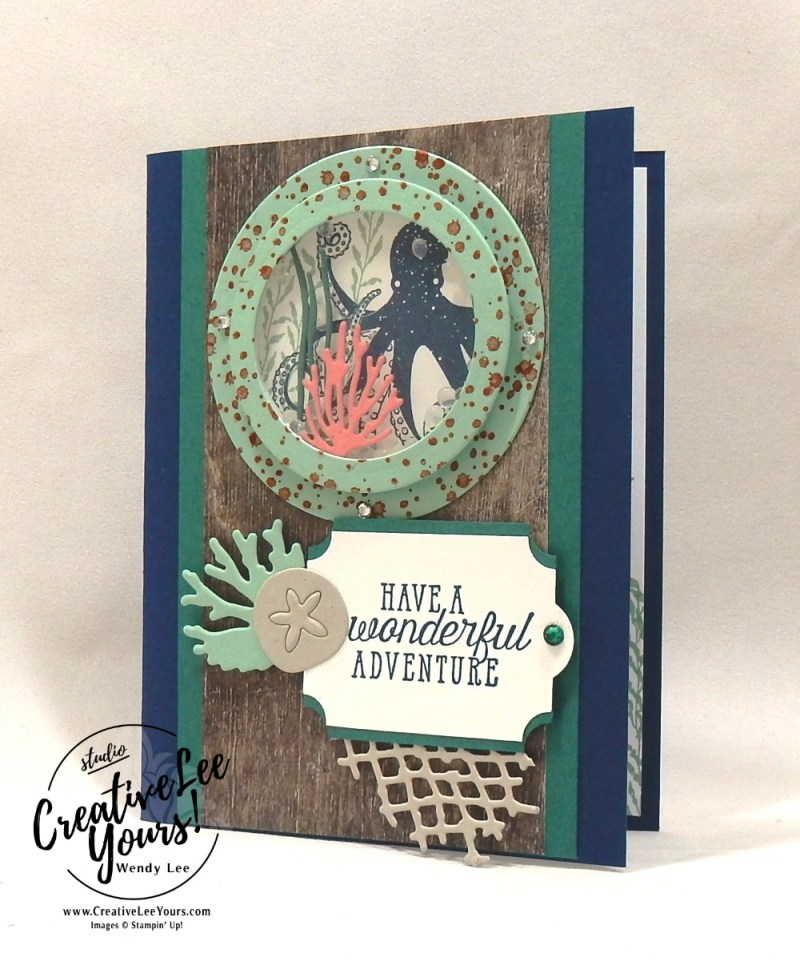 Wonderful Adventure Shaker by Jennifer Hamlin,Stampin Up, stamping, handmade card, friend, thank you, birthday, #creativeleeyours, creatively yours, creative-lee yours, diemonds team swap, sea of textures stamp set, SU, SU cards, rubber stamps