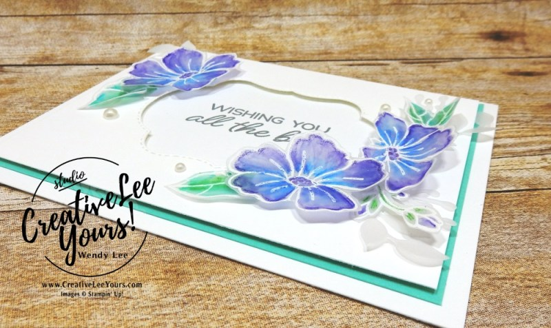 Watercoloring on Vellum by wendy lee, Stampin Up, stamping, handmade card, friend, thank you, birthday, #creativeleeyours, creatively yours, creative-lee yours, August 2018 FMN card class, forget me not, SU, SU cards, rubber stamps,color your season promotion, promotion, paper crafting, limited time, all occasions, flowers, leaves, stitched seasons framelits, free tutorial, go for greece blog hop