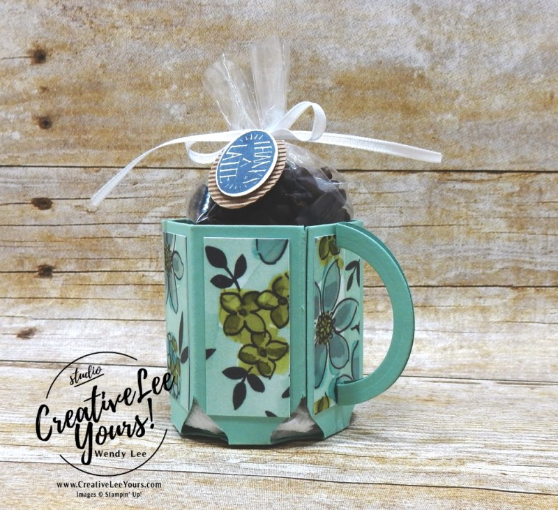 Coffee Cup by Wendy Lee,Printable Tutorial, Kylie's International Highlights Blog Hop , stampin Up, #creativeleeyours, 3D, hand made , teacher gift, secretaries day, stamping, creatively yours, creative-lee yours, coffee cafe stamp set, coffee cup framelits, team gifts
