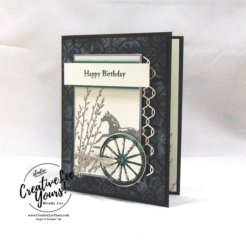 Country Road Birthday by wendy lee, Stampin Up, stamping, handmade card, friend, thank you, birthday, #creativeleeyours, creatively yours, creative-lee yours, September 2018 FMN card class, forget me not, SU, SU cards, rubber stamps, paper crafting, all occasions, masculine, rustic go for greece blog hop, country road stamp set, collage, chicken wire