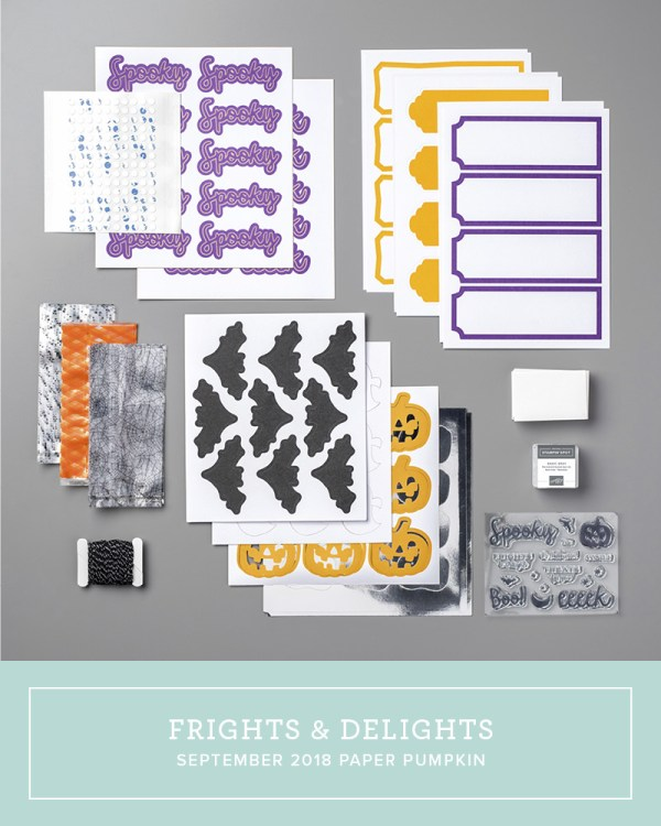 September 2018 Frights & Delights Paper Pumpkin Kit by wendy lee, stampin up, handmade cards, Halloween treats, rubber stamps, stamping, kit, subscription, #creativeleeyours, creatively yours, creative-lee yours, birthday, friend, thank you, congrats, video, bonus tutorial, alternate projects, fun kids projects, fast & easy, DIY