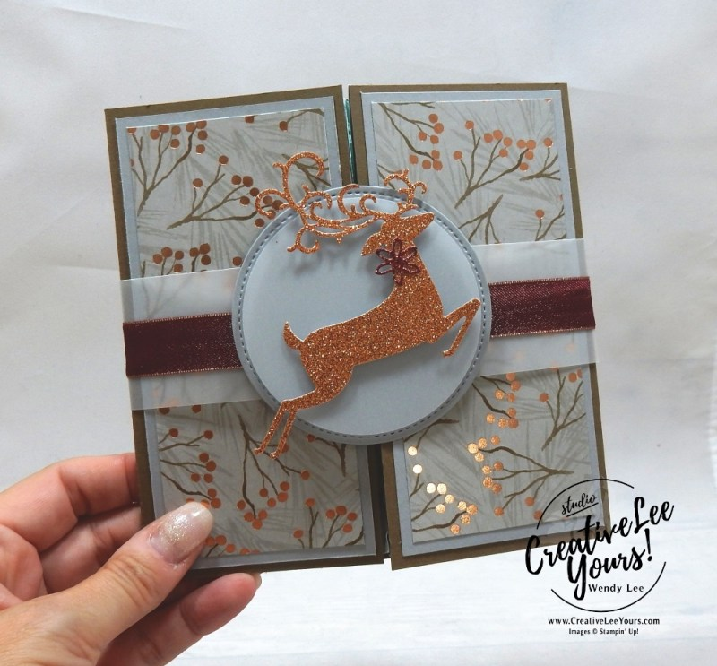 Gate Fold Explosion Fun Fold by wendy lee, October 2018 FMN Class, Forget me not, Stampin Up, stamping, handmade card, holiday, christmas, #creativeleeyours, creatively yours, creative-lee yours, SU, SU cards, rubber stamps, paper crafting, timeless tidings stamp set,Merry Christmas, Happy Holidays, DIY, card club, elegant, dashing deer, sparkle