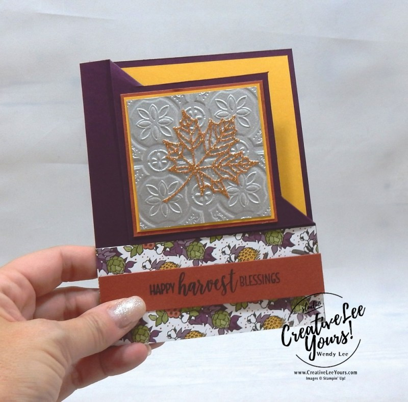 Happy Harvest Blessings by Belinda Rodgers, wendy lee, Stampin Up, stamping, handmade card, friend, thank you, birthday, grateful, fall card, #creativeleeyours, creatively yours, creative-lee yours, diemonds team, country home stamp set, SU, SU cards, rubber stamps, demonstrator, embossing, tin tile, corner fun fold