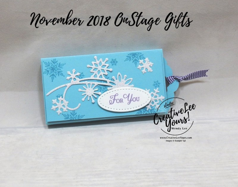 Candy Slider by wendy lee, fun fold, Printable Tutorial, Diemonds Team, Stampin Up, #creativeleeyours, creatively yours, creative-lee yours, SU, business opportunity, make extra money, DIY, paper craft, limited time, exclusive, snowflake showcase, snow is glistening stamp set, snowfall thinlits, snowflakes, Onstage gifts, candy treat, #OnStage2018, #StampinUp30, stamp event