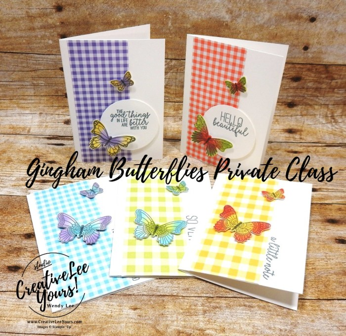 Gingham Butterfly Notecard Set by wendy lee, Stampin Up, stamping, handmade card, friend, thank you, birthday, #creativeleeyours, creatively yours, creative-lee yours, SU, SU cards, rubber stamps, DIY, cling stamps, #simplestamping, butterfly gala, butterfly punch, fast & easy, sponging, private class