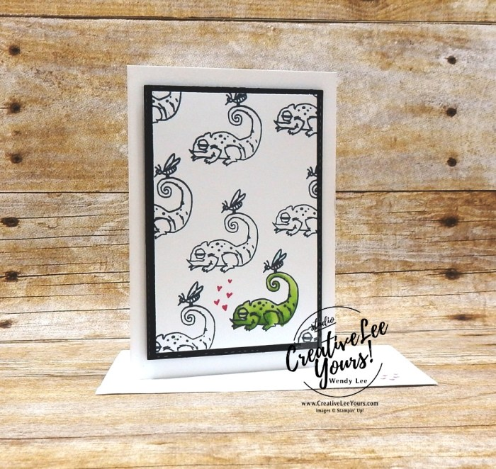 January 2019 Be Mine Valentine Paper Pumpkin Kit,One In A Chameleon by wendy lee, stampin up, handmade cards, rubber stamps, stamping, kit, subscription, #creativeleeyours, creatively yours, creative-lee yours, love, anniversary, alternate, bonus tutorial, fast & easy, DIY, #simplestamping, chameleon, kangaroo, rhino, giraffe, animal, February 2019 FMN class, card club