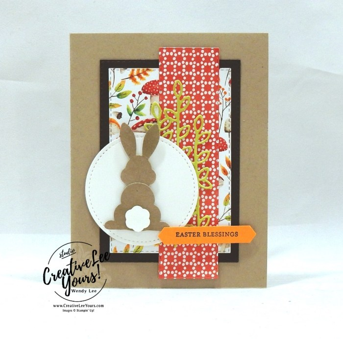 Easter Blessings by wendy lee, Stampin Up, stamping, handmade card, friend, thank you, birthday, #creativeleeyours, creatively yours, creative-lee yours, SU, SU cards, rubber stamps, paper crafting, all occasions, bunny, DIY, itty bitty greeting stamp set, easter, painted seasons, free products, SAB, sale-a-bration, card club, tutorial