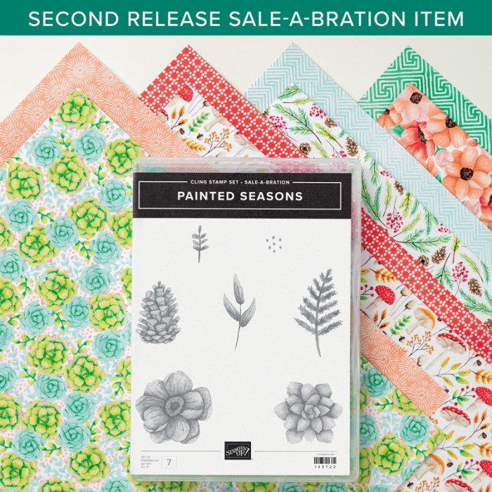SAB 2nd release, hand painted, wash, four seasons dies, painted seasons stamp set, painted seasons designer series paper, wendy lee, Stampin Up, #creativeleeyours, creatively yours, creative-lee yours, SU, DIY, paper craft, video, product tips, product highlights, sale-a-bration, free stamps, promotion, spring, summer, fall, winter, flowers, distinktive, pinecone, leaves