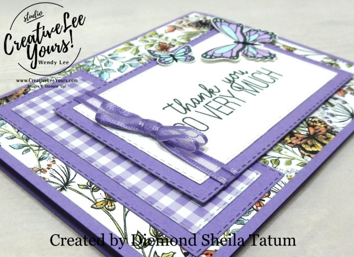 Botanical Butterflies by Sheila Tatum, wendy lee, Stampin Up, stamping, handmade card, friend, thank you, birthday, #creativeleeyours, creatively yours, creative-lee yours, SU, SU cards, rubber stamps, demonstrator, business, DIY, cling stamps, butterfly gala, 2 step stamping, ibutterfly punch, SAB, Sale-a-bration, butterflies, stitched rectangles