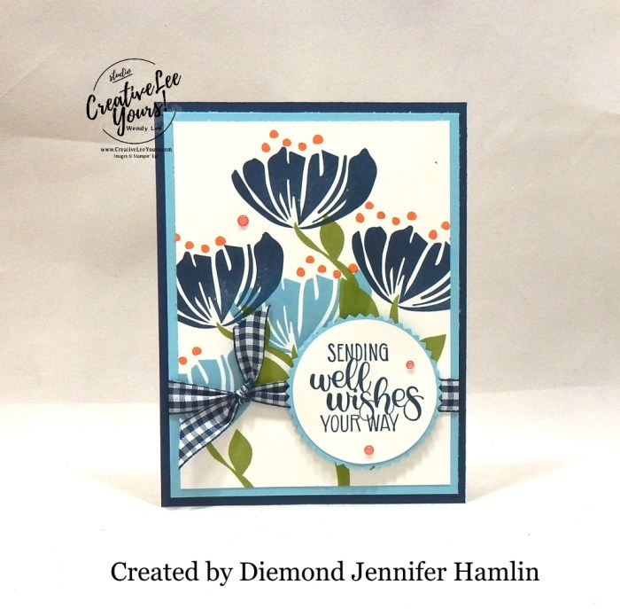 Well Wishes by Jennifer Hanlin, Wendy lee, Stampin Up, stamping, handmade card, friend, thank you, birthday, #creativeleeyours, creatively yours, creative-lee yours, SU, SU cards, rubber stamps, paper crafting, all occasions, DIY, diemonds team swap, bloom by bloom stamp set, dandelion wishes stamp set, flowers, gingham, business opportunity