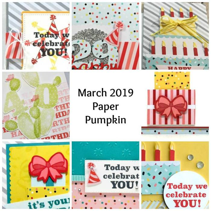 March 2019 Poppin' Birthday Paper Pumpkin Kit by wendy lee, stampin up, handmade cards, rubber stamps, stamping, kit, subscription, #creativeleeyours, creatively yours, creative-lee yours, birthday, celebration, graduation, anniversary, alternate, bonus tutorial, fast & easy, DIY, #simplestamping, party hats, cake, presents