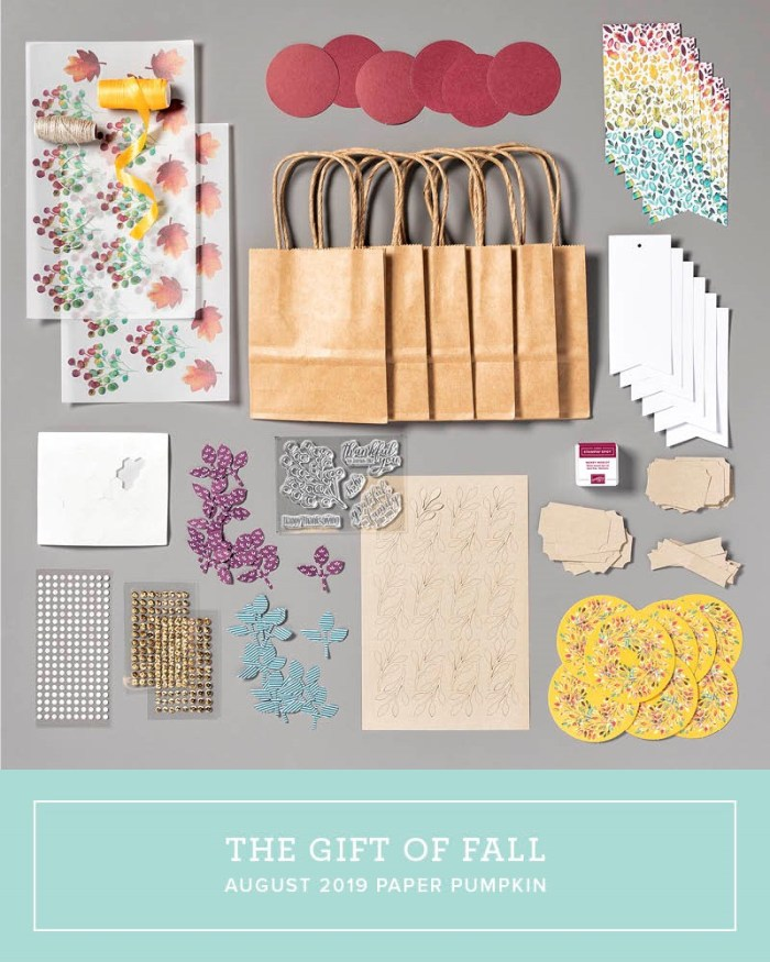 Wendy Lee, August 2019 The Gift Of Fall Paper Pumpkin Kit, stampin up, handmade cards, rubber stamps, stamping, kit, subscription, #creativeleeyours, creatively yours, creative-lee yours, birthday, celebration, graduation, anniversary, smile, thank you, grateful amazing, fall, leaves, alternate, bonus tutorial, fast & easy, DIY, #simplestamping, card kit, masculine, gift bags, treats, thanksgiving