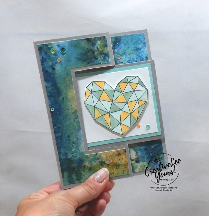 Modern Heart Flip by Wendy Lee, stampin Up, SU, #creativeleeyours, hand made card, fun fold, hearts, friend, birthday, hello, thanks, celebration, encouragement, dreams, stamping, creatively yours, creative-lee yours, modern heart stamp set, DIY, stars, glitter, love, card club, tutorial