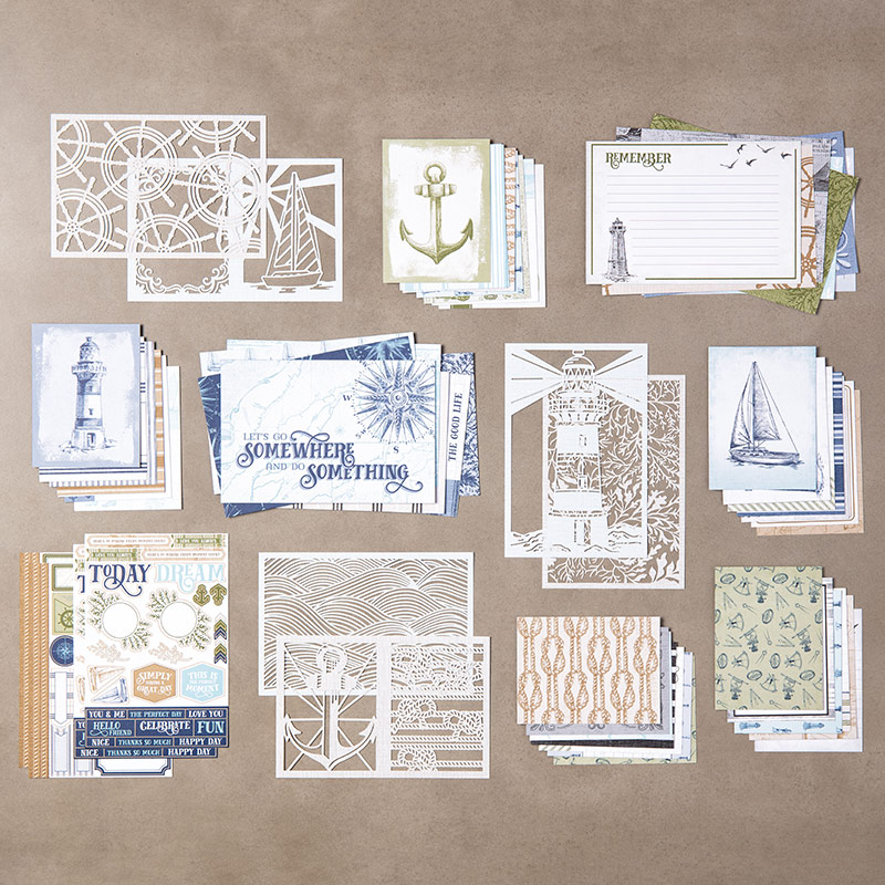 Come Sail Away Memories & More Card Pack with Wendy Lee, stampin Up, SU, #creativeleeyours, hand made card, memories, nautical, masculine, journey, maritime, friend, birthday, ships, lighthouse, anchor, hello, thanks, celebration, encouragement, stamping, creatively yours, creative-lee yours, DIY, crafting, papercrafts, #simplestamping, memories & more, memory keeping, video, fast & easy, beginner crafter