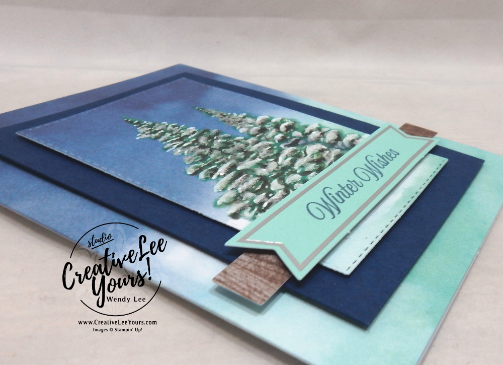 Glitter Winter Wishes by Wendy Lee, October 2019 Paper Pumpkin Kit, stampin up, handmade cards, rubber stamps, stamping, kit, subscription, #creativeleeyours, creatively yours, creative-lee yours, celebration, smile, thank you, alternate, bonus tutorial, fast & easy, DIY, #simplestamping, card kit, tags, holiday, Christmas, woodgrain, ice glitter