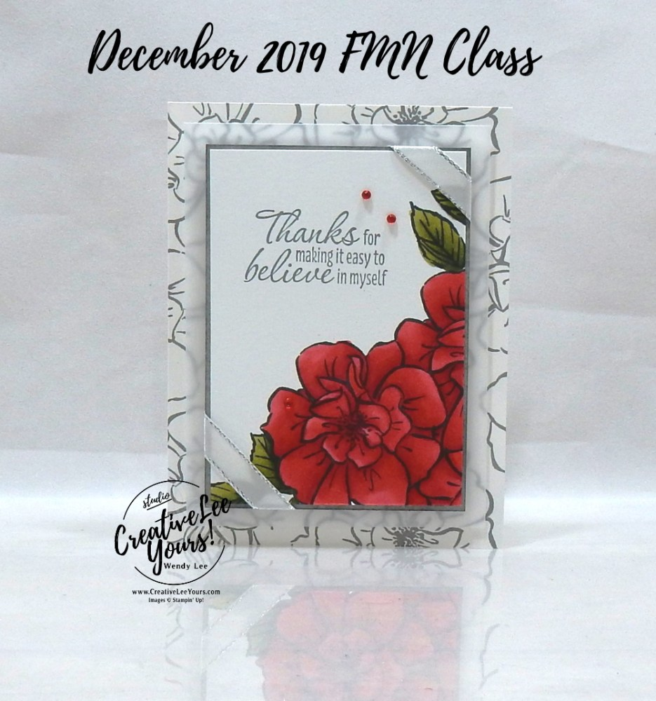 Masked Wild Rose by Wendy Lee, Tutorial, card club, stampin Up, SU, #creativeleeyours, hand made card, technique, To A Wild Rose stamp set, Tastefull Textures stamp set, friend, celebration, stamping, creatively yours, creative-lee yours, DIY, FMN, forget me knot, December 2019, class, card club, roses, shimmer, coloring with blends