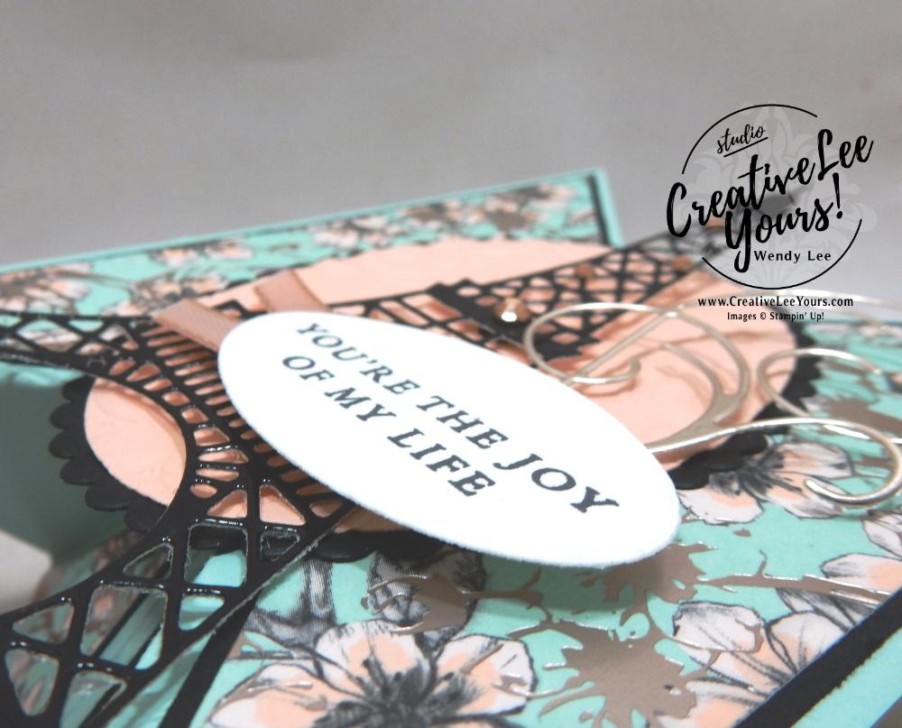 Tricorn Fun Fold by Wendy Lee, stampin Up, SU, #creativeleeyours, handmade card, fun fold, Parisian Beauty stamp set, #patternpaper, friend, celebration, stamping, creatively yours, creative-lee yours, DIY, birthday, valentine, fun fold, eifel tower, paris, love, joy, champagne, FMN, tutorial, card club, Forget Me Not, January 2020 class, technique, paper crafts