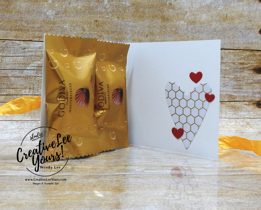 Be Mine Treat Holder by Wendy Lee, stampin Up, SU, #creativeleeyours, handmade card, fun fold, Honey Bee stamp set, Make a difference stamp set, #patternpaper, friend, celebration, stamping, creatively yours, creative-lee yours, DIY, birthday, valentine, treat holder, 3D, bee, honeycomb, heart, Godiva, masculine